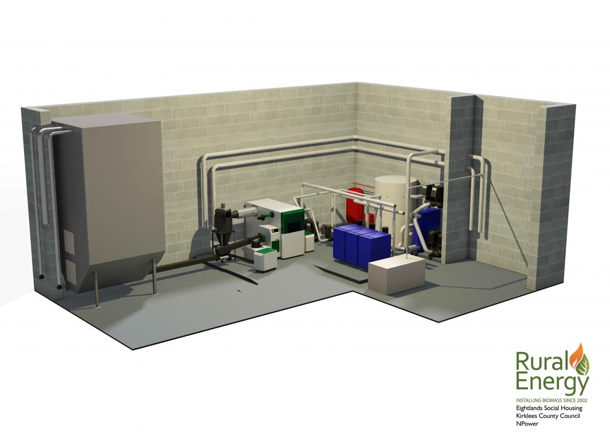 3D design of biomass plant room and fuel store