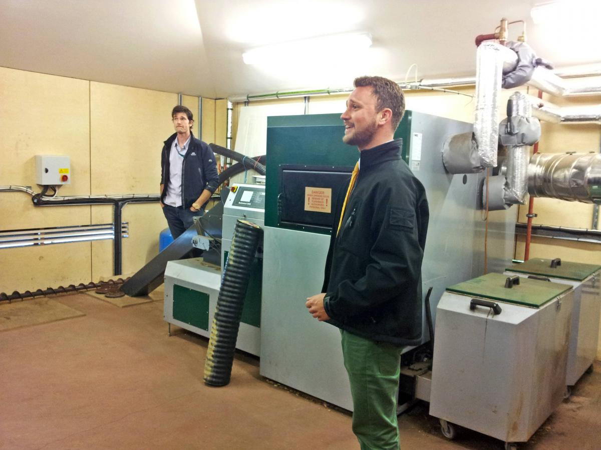 Matt, Ross and the BioMatic 220kW biomass boiler