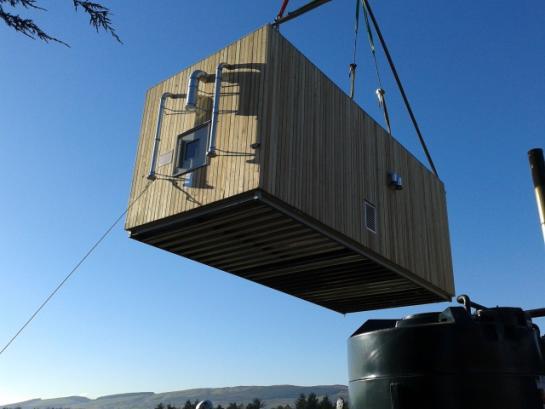Heat Pod craned to site