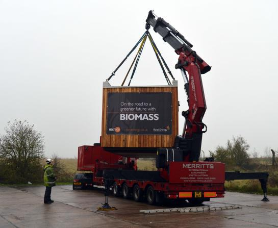 Biomass Heat Pods being delivered to site
